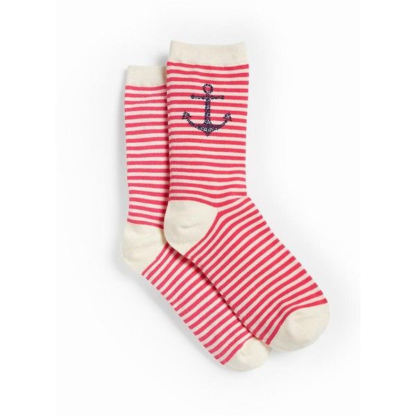 Talbots Women's Nautical Anchor Trouser Socks (83 NOK) ❤ liked on Polyvore featuring intimates, hosiery, socks, cactus bloom multi, talbots y anchor socks