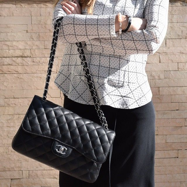 chanel bags classic. Chanel Bag Classic Timeless Flap Double Black Caviar SHW Silver Hardware, Sandro Blouse Dots By Bags