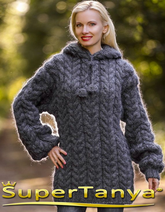 Made to order thick and and fuzzy hand knit mohair sweater with hoodie in bluish gray graphite by SuperTanya