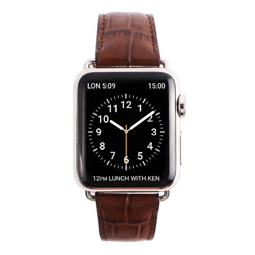 Gaze Natural Leather Apple Watch Band Color Croco Brown Fashion Watch 38mm #Gaze