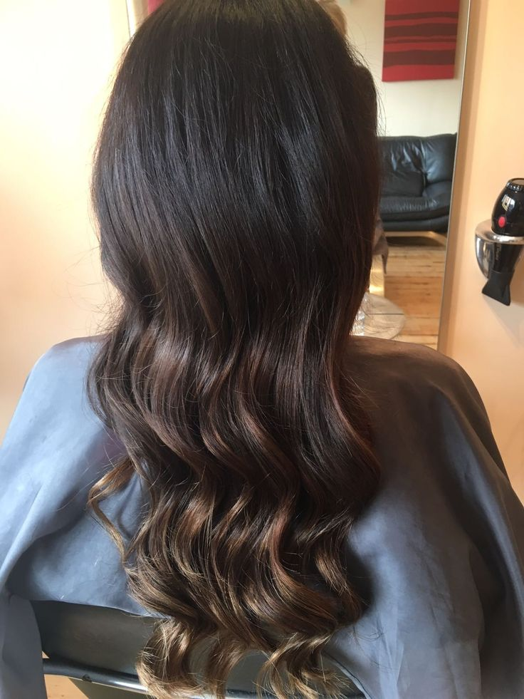 Long, wavy dark brown ombre hair