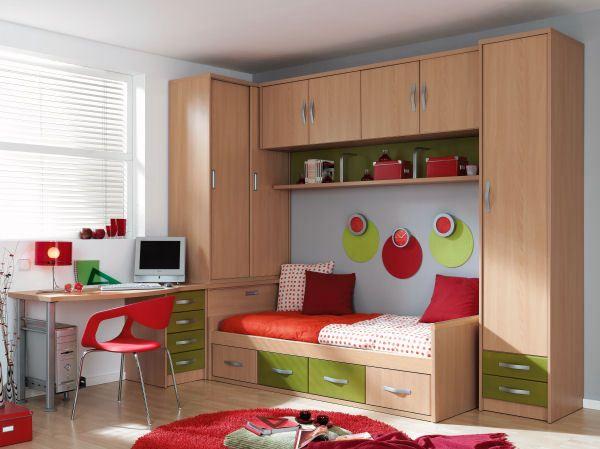 Juego de dormitorio para ninos y jovenes en melamina con - Muebles de dormitorio de ninos ...