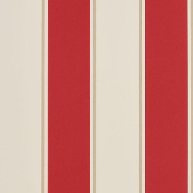 Mapleton Stripe Vermilion wallpaper by Ralph Lauren