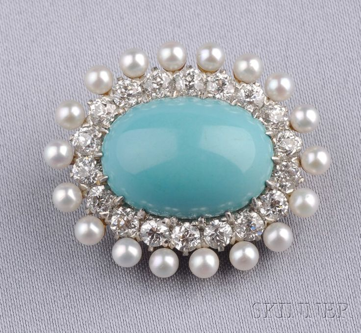 Antique Turquoise, Diamond, and Pearl Brooch