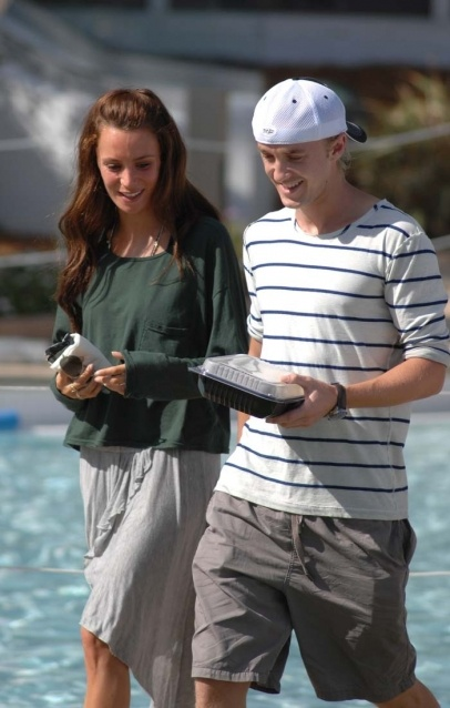 Tom Felton and his long time girlfriend Jade Olivia Tom with a box lunch at their hotel the Fontainbleau in Miami Beach.