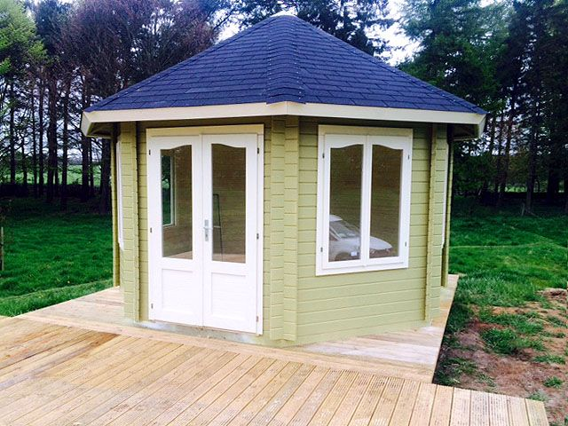 There S A Lovely Muted Shade Of Olive Green On This Ribble Summer House Http Www Gardenlifelogcabins Co Uk Products Nataly Product Details Php