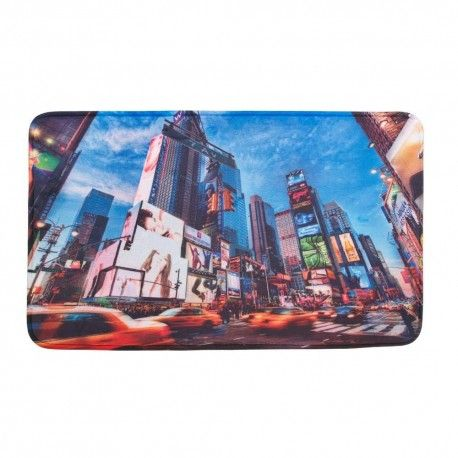 The electric ambiance of New York City's Times Square can be yours every day! This polyester mat features a digitally printed scene of tall buildings, bright lights, and racing taxi cabs that will make you feel like you're in the center of the city.