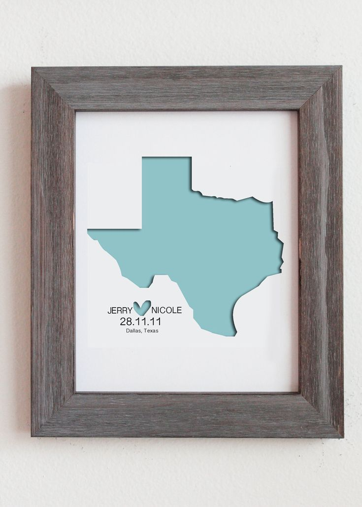 personalized paper cut out of texas map 8x10 for gift and wedding gift