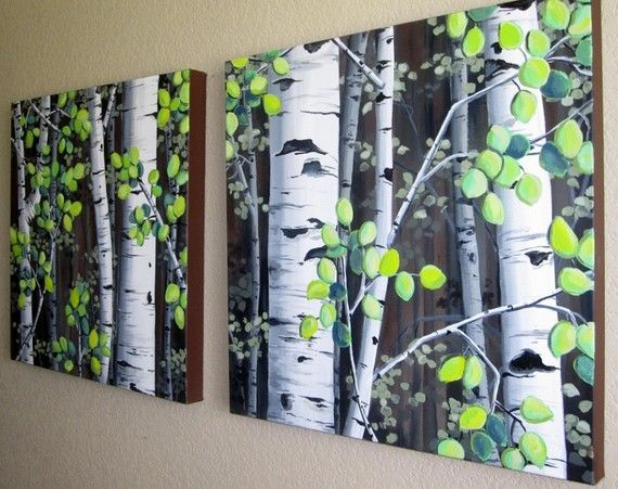 """Colorado Aspen Trees on Canvas - MADE TO ORDER Set of two 20"""" x 20"""" large acrylic paintings $225"""