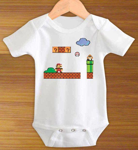 Super Mario Brothers Bros. Bodysuit Shirt 8 Bit Retro by ToLTot