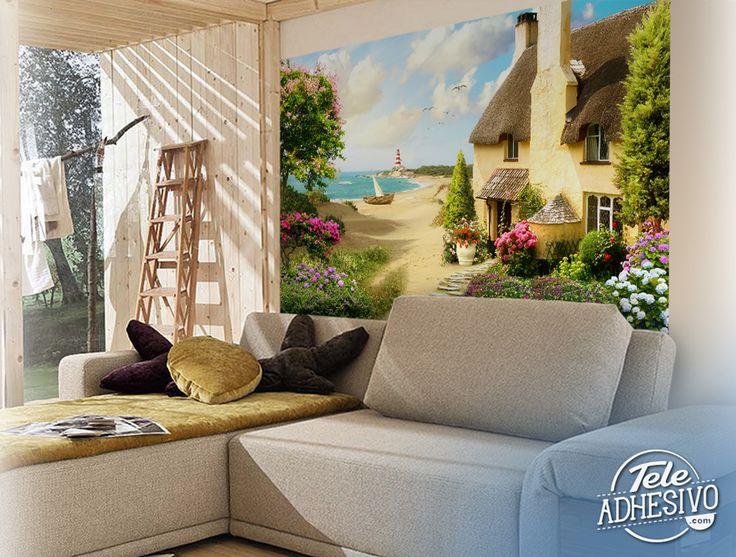 Fotomurales: Casa en la playa #fotomural #mural #pared #decoracion #deco #TeleAdhesivo