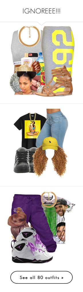 """""""IGNOREEE!!!"""" by kaykay47 ❤ liked on Polyvore featuring Tommy Hilfiger, Topshop, Forever 21, maurices, adidas, October's Very Own, LE3NO, Nly Shoes, None the Richer and Retrò"""
