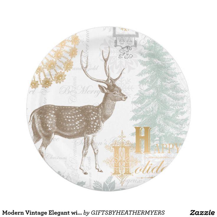 Modern Vintage Elegant winter woodland deer Paper Plate  sc 1 st  Pinterest & 933 best Custom CHRISTMAS Paper Plates images on Pinterest ...