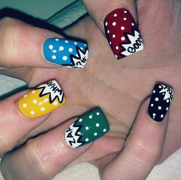Love these awesome comic book-inspired nails!