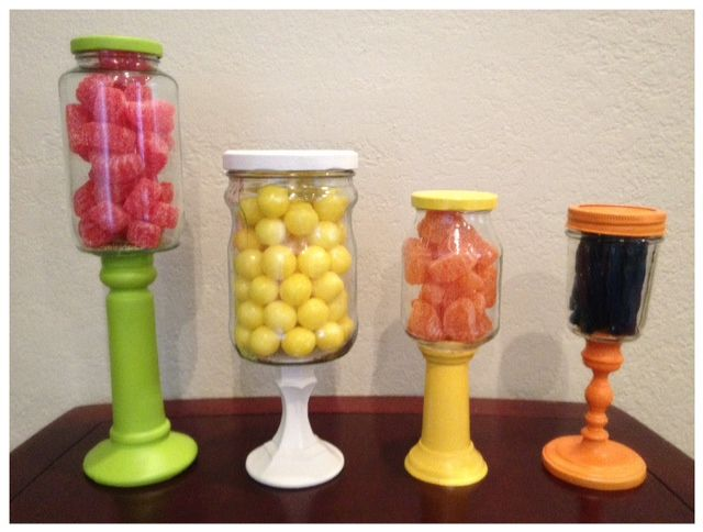 candlestick candy jar...I can spray paint them black and we can put halloween candy in like reese's pieces, orange slices, black licorice, candy corn