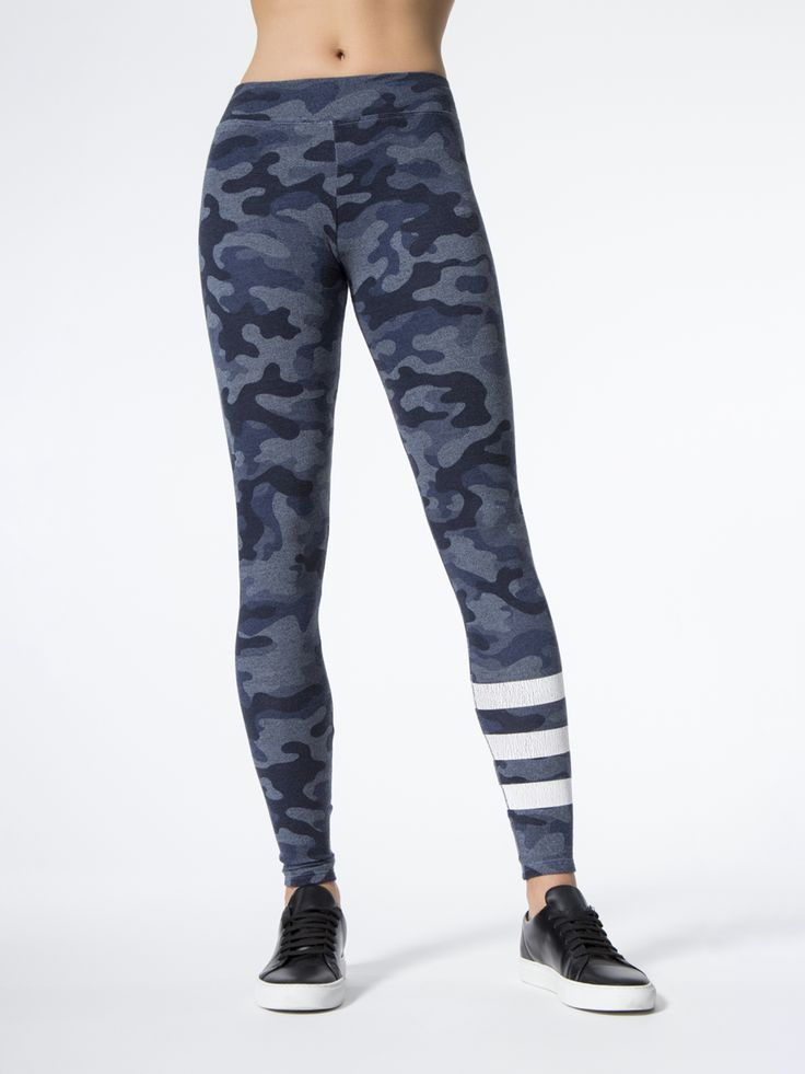 Stripes Camo Yoga Leggings in Heather Denim by Sundry from Carbon38