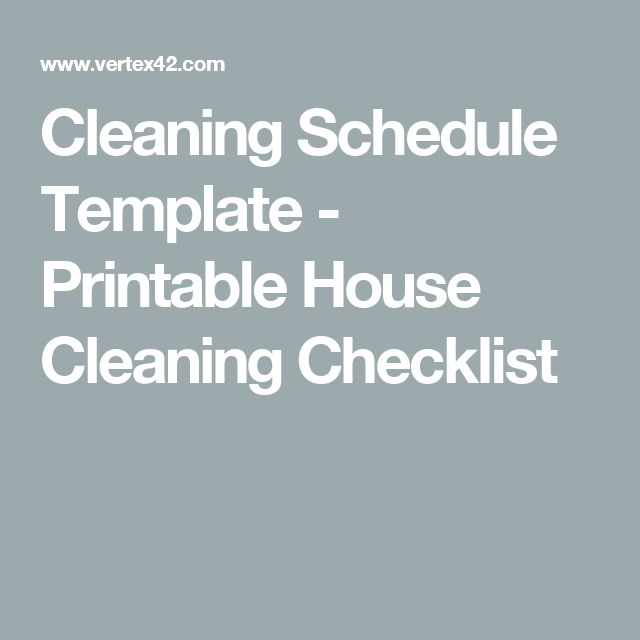 Cleaning Schedule Template - Printable House Cleaning Checklist