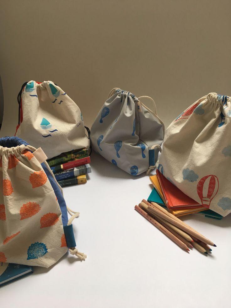Hepphabit block printed kids' backpacks