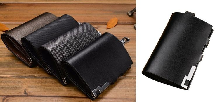 Vintage Stylish Key Wallet With Small Money Pouch Strip Door & Car Key Wallet Genuine Leather