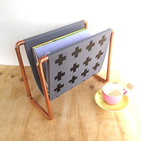 DIY Kit: Copper Magazine Rack - grey fabric with smart black crosses