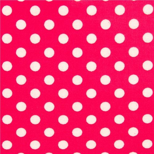 pink polka dot laminate fabric by Cosmo from Japan