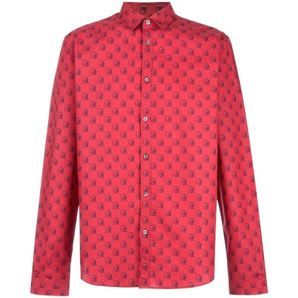Gucci Gucci Ghost Duke shirt ($630) ❤ liked on Polyvore featuring men's fashion, men's clothing, men's shirts, men's casual shirts, red, mens long sleeve shirts, mens extra long sleeve shirts, mens red long sleeve shirt, mens slogan t shirts and mens button front shirts