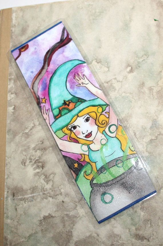 Halloween Witch Bookmark - Toil and Trouble - Witch's cauldron- Fantasy art Illustration- Witchy fun -by Niina Niskanen