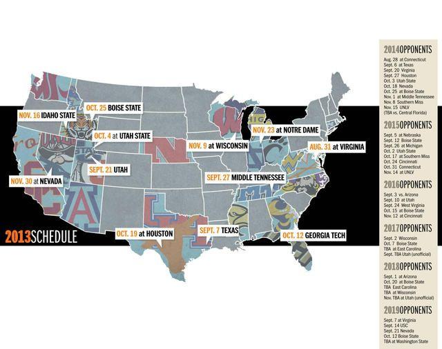 BYU completely knows where Boise, Austin, Houston, Reno, Sound Bend, Charlottsville, and Pocatello are.