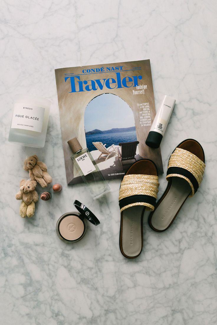 Byredo Candle, MAC Lipstickand Cream, Armani Beauty Foundation, Loewe Fragrance, Dear Frances Sandals via @eggcanvas