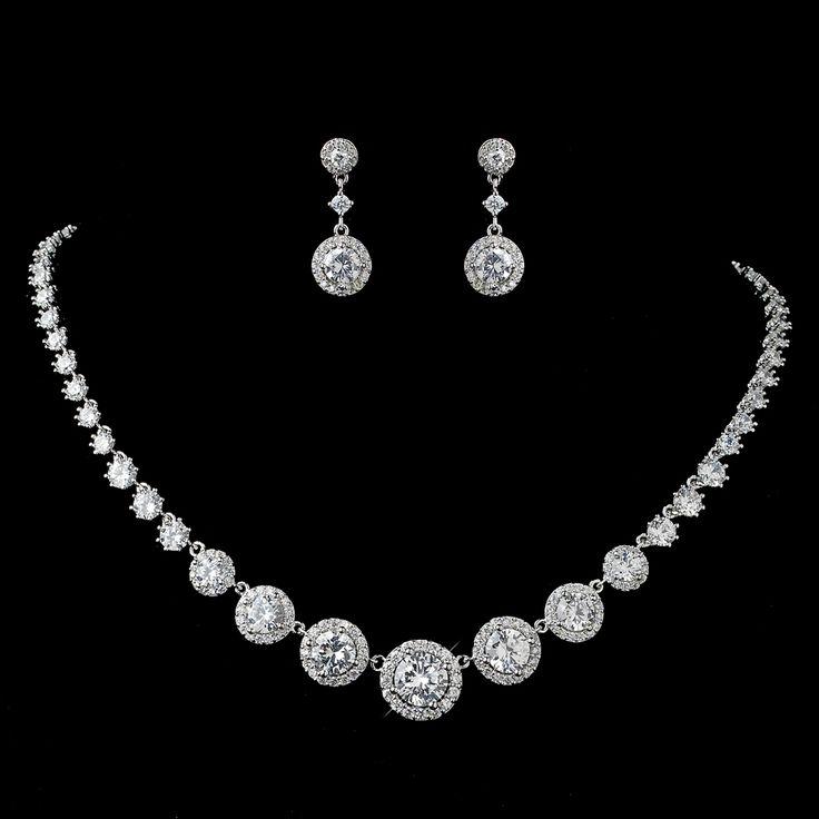 Glamorous Round Pave CZ Wedding Jewelry Set - Affordable Elegance Bridal -