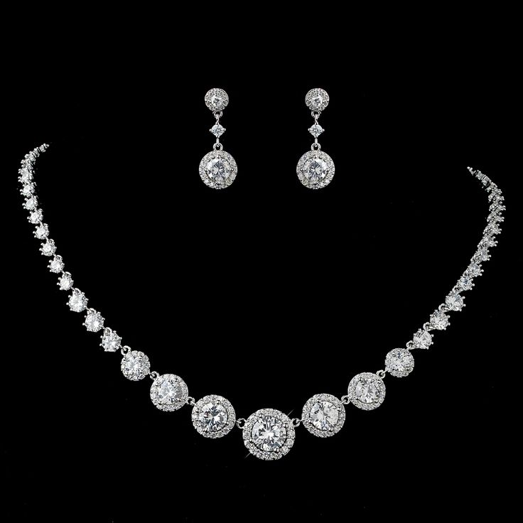 Stunning!  Round Pave CZ Wedding Jewelry Set - Silver, Gold or Rose Gold - Affordable Elegance Bridal -