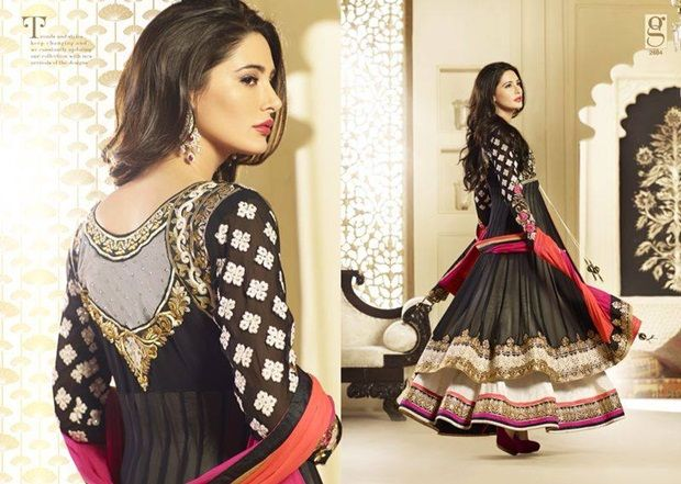 nargis fakhri in designer anarkali dress