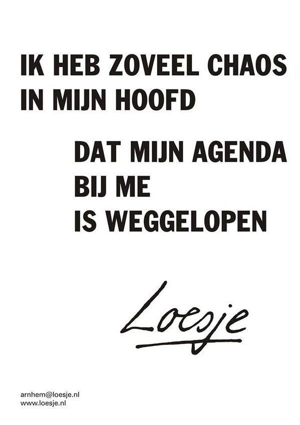 Ik heb zoveel chaos in mijn hoofd dat mijn agenda bij me is weggelopen #Loesje