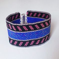 Bracelet bleu et rose tissage peyote en perles miyuki