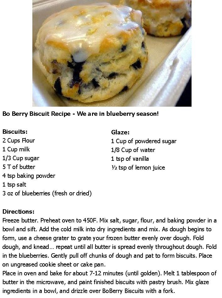 Bo Berry Biscuit Recipe - We are in blueberry season!
