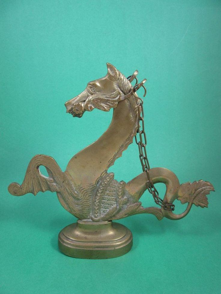 Vintage Brass Hippocampus Seahorse Gondola Horse Myth