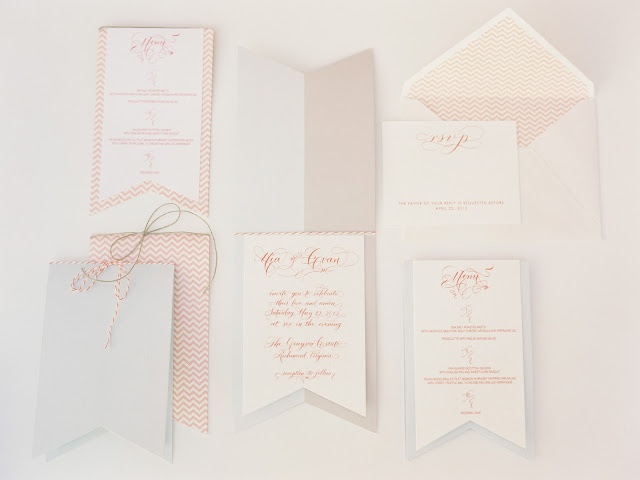 Love this chevron banner stationery with lovely flourished calligraphy by @Moya Minns