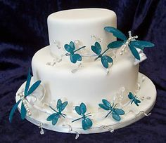Wedding/Celebration dragonfly cake toppers- set of 2 Blue/Green/Ivory/Red/Lilac | eBay