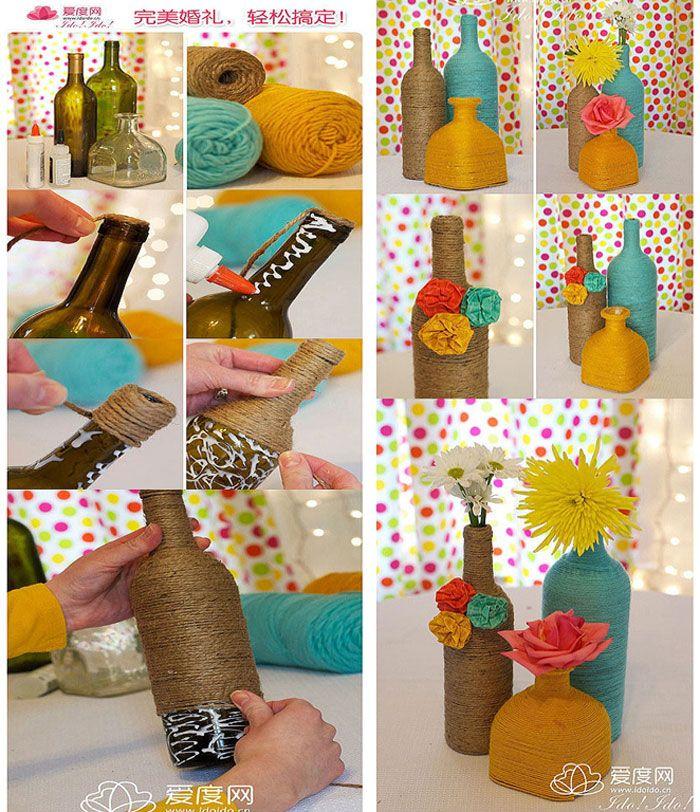 reciclagem garrafas vidro decoradas linha barbante Vidros Decorados Pinterest -> Decorar Garrafas De Vidro Com Barbante