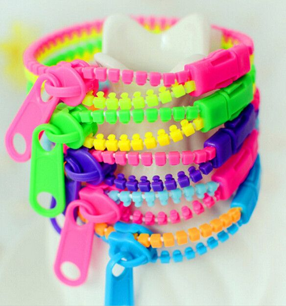 Double Color Zipper Bracelet Wristband Fluorescent Color Rainbow Levels Personality Gifts for Women Men jewelry Kids