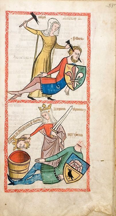 "tierradentro:  ""Jael and Sisera"", from Speculum Humanae Salvationis, Westphalen, c.1360."