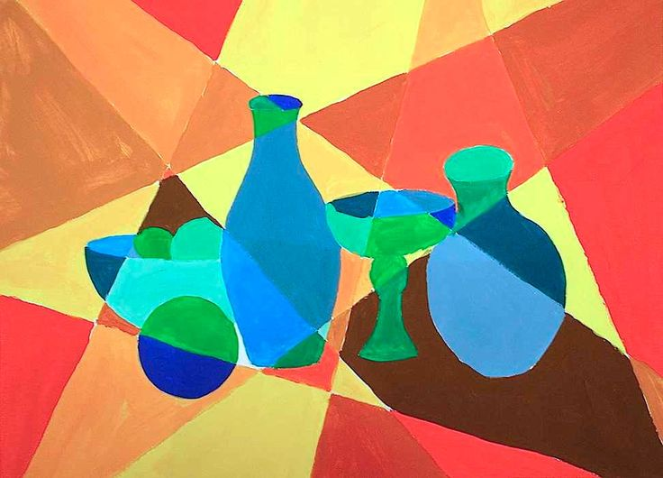 Fragmented Cubism Still Life Use Monochromatic Colour