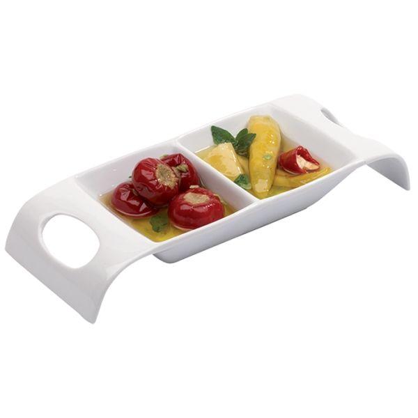 Porcelain Appetiser Dish Features White Porcelain 2 Compartments Integrated Handles