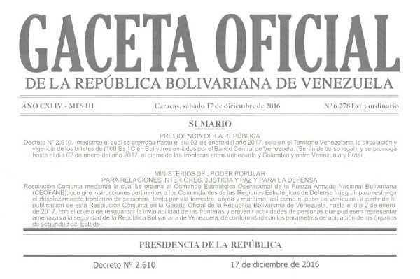 En Gaceta llena de horrores ortográficos publican prórroga sobre circulación del billete de 100