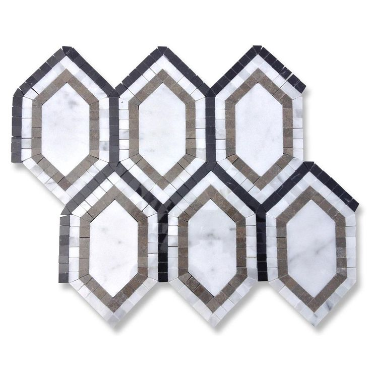 Shop For Infinity Carrera Hexagon With Lagos, White Carrera and Black Marble Tile at TileBar.com
