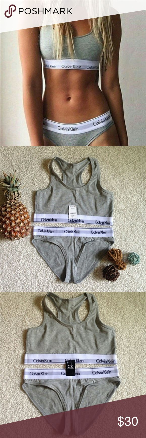 Gray Calvin Klein medium bra and panty set New with tag! Buttery soft, perfect for lounging. Never worn or tried on. No damages or issues. Highly sought after. Calvin Klein Underwear Intimates & Sleepwear Bras