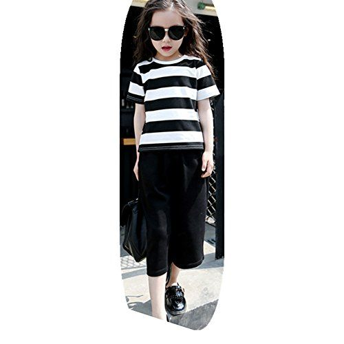 FTSUCQ Girls//Boys Short Sleeve Top Shirt with Cropped Trousers Pants,Two-Pieces Sets
