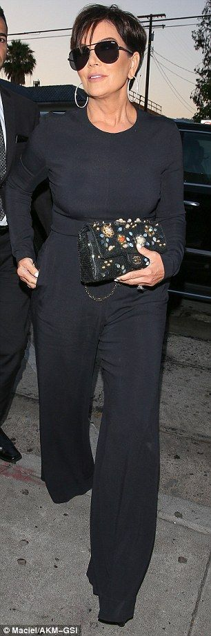 Classy ensemble: The 60-year-old carried a floral beaded Chanel purse as she made her way inside Craig's restaurant for dinner
