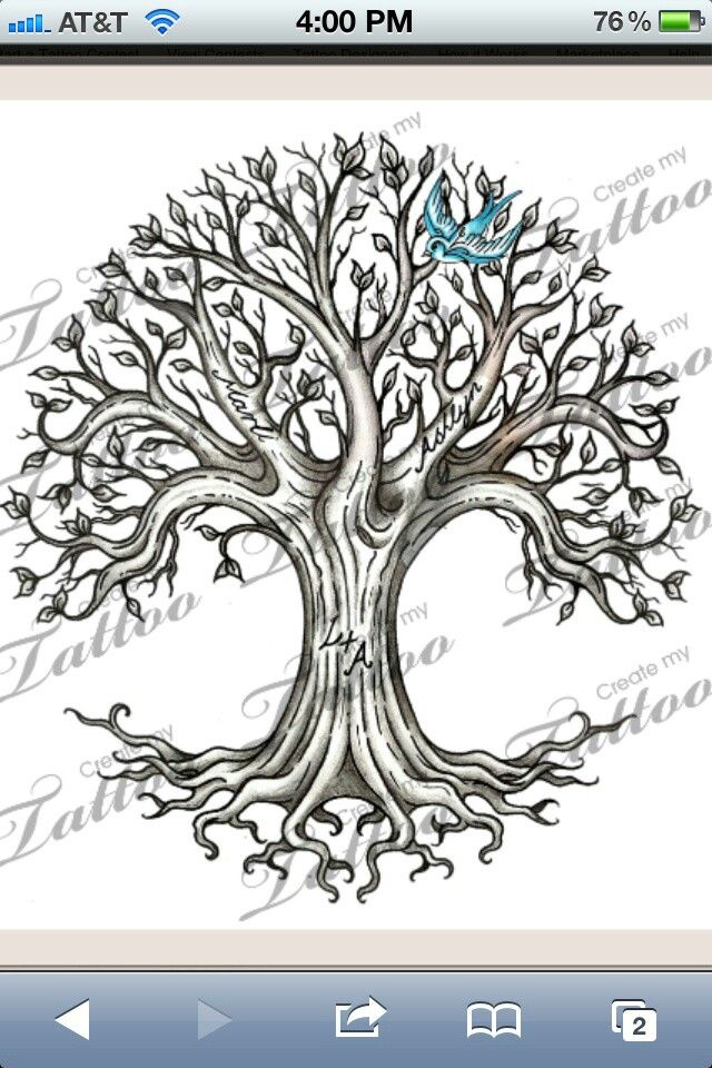 Family Tree Tattoo Designs With Hidden Names
