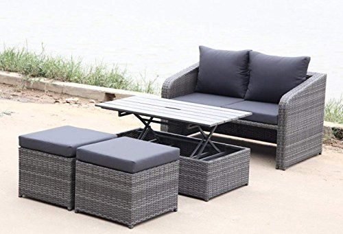 SSITG Set with 4 Chairs Rattan Lounge Garden Furniture Set
